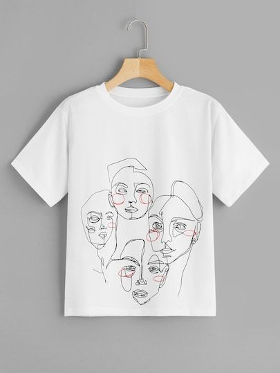 Abstract Figure Print T-Shirt SR01