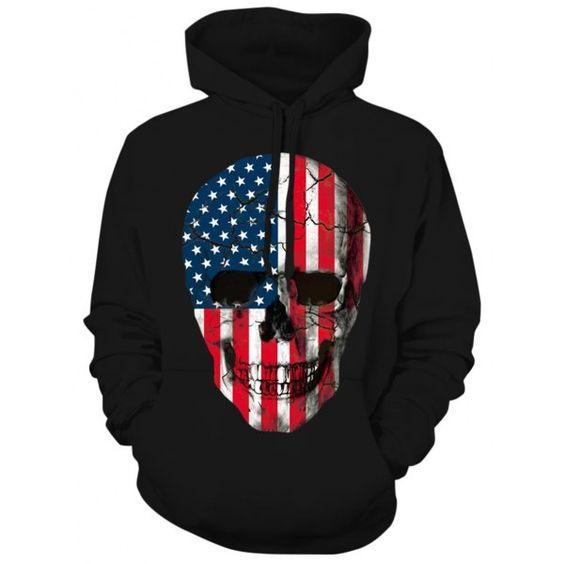 American Flag Skull Hoodie FD01