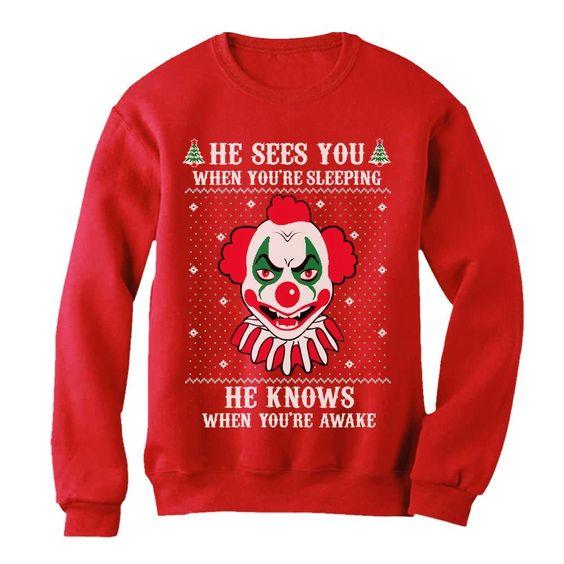 Christmas Evil Scary Killer Clown Joker Sweatshirt EL01