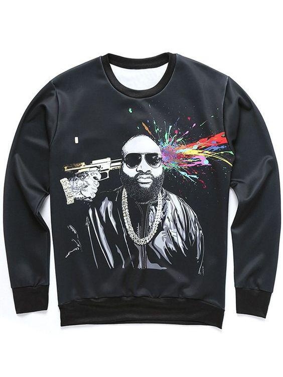 Figure and Splatter Paint Sweatshirt SR01