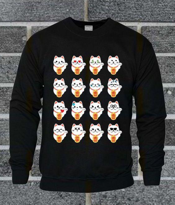 Fortune Cat Emoji Sweatshirt AI