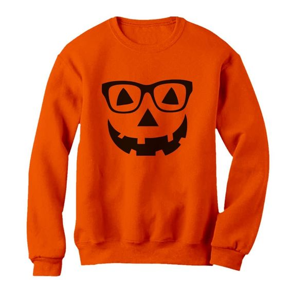 Geeky Pumpkin Face Halloween Sweatshirt DV01