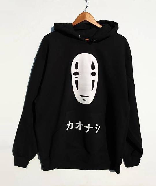 No Face men Oversize Black hoodie DV30