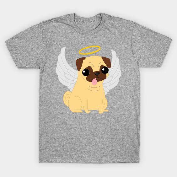 Angel Pug dog T-Shirt N7FD