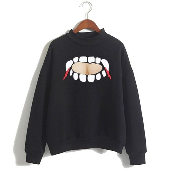Vampire Teeth Cut Sweatshirt ER30N