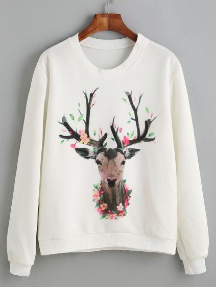 Deer Print White Sweatshirt D9VL