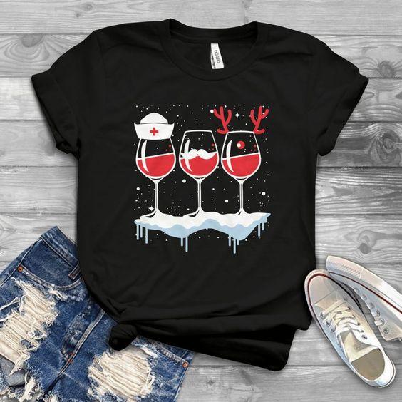Wine Nurse Chistmas T-Shirt EM6D