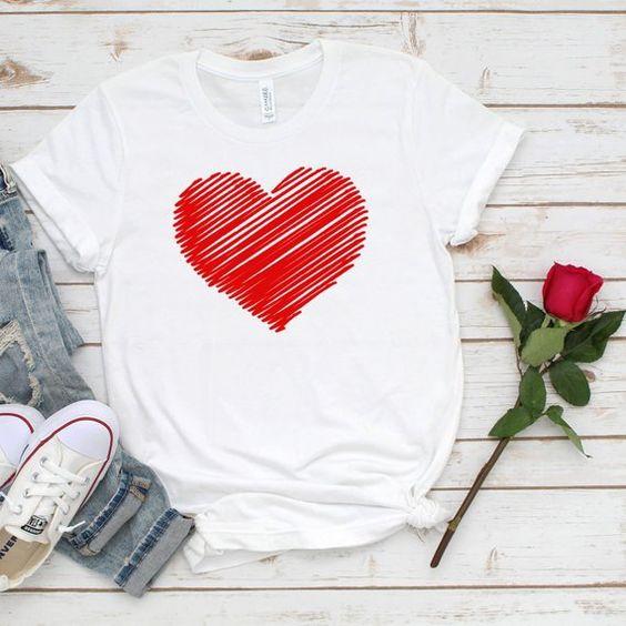 Valentines Red Heart T-Shirt DL21J0