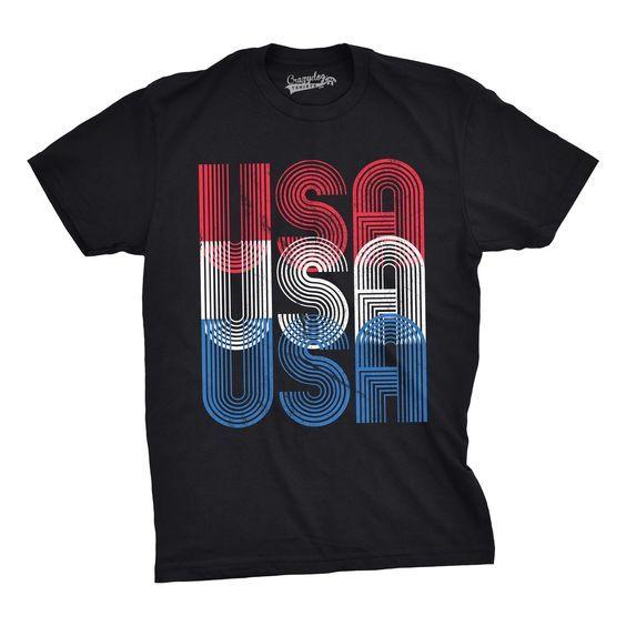 USA words Colorfull Tshirt ZR29F0