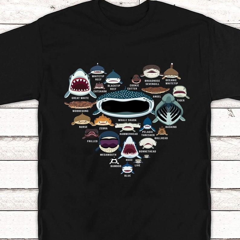 Love Shark Faces Heart T-Shirt AL5S0