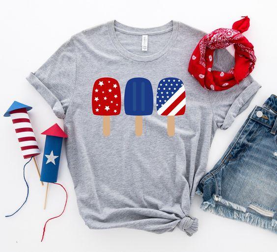 4th of July Popsicles T-Shirt EL9A1